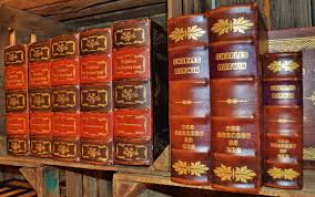 book old brown box spine books antiquariat leather covers bookselling
