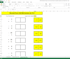 screen capture of excel workbook for developing sum number skills in preparation for factorising