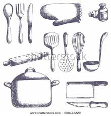 kitchen utensils vector. Kitchen Tools. Vector Set. Hand Drawing For The Design And Of Packaging Paper Utensils O