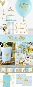 Boy Baby Shower Cake Topper Boy Blue And Gold Baby Shower Etsy