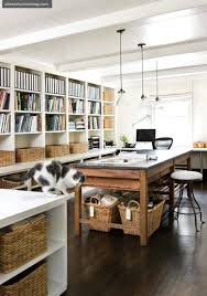 cottage office. Book- And Basket-lined Shelves Create Order In Designer Barbara Westbrook\u201cs Relaxed Cottage Office A