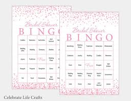 Wedding Bingo Words 30 Bridal Bingo Cards Pink Bridal Shower Bingo Game Confetti Prefilled Wedding Words Instant Download Bridal Shower Games Br2001