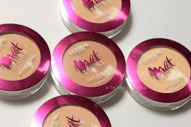 loreal paris mat magique pact powders swatches review