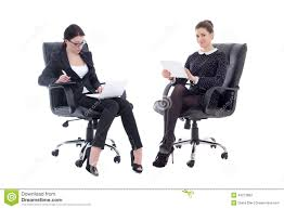 Office furniture for women Gorgeous Two Beautiful Business Women Sitting On Office Chairs With Table Dreamstimecom Two Beautiful Business Women Sitting On Office Chairs With Table
