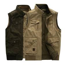 mens big size casual outdoor washed double sided wear multi functions vest intl