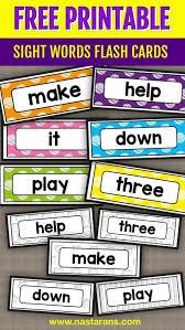 Free Printable Sight Words Flash Cards Pre Primer