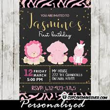 Safari Party Invitations Animal Print Pink Safari Party Invitation Gold Glitter
