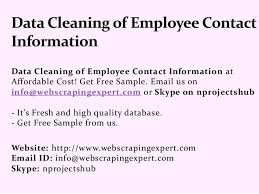 employee contact info data cleaning of employee contact information