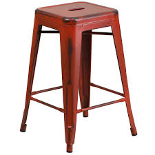 metal counter height stools. Flash Furniture ET-BT3503-24-RD-GG Distressed Kelly Red Stackable Metal Counter Height Stool With Stools N