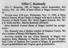 Obituary for Ollie Christeen Garner Kennedy - Newspapers.com