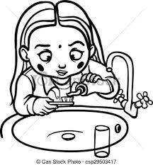 brushing teeth drawing. Wonderful Brushing Funny Cartoon Girl Brushing Her Teeth Vector Illustration In Teeth Drawing N