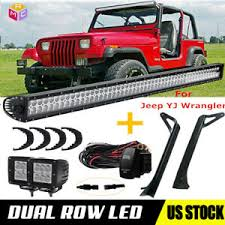 52inch led light bar for 87 95 jeep wrangler yj mount bracket image is loading 52inch led light bar for 87 95 jeep