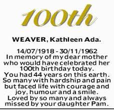 WEAVER, Kathleen Ada | Tributes & Condolences | Adelaide | The Advertiser
