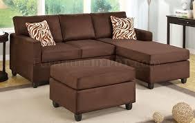 f7661 chocolate microfiber sectional sofa by boss w ottoman