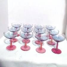 set of pink and blue iridescent wine glasses tesco