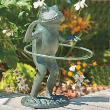 garden frog statue. Add Some Whimsy To Your Patio Or Flowerbed With Our Hula Hoop Garden Frog Sculpture. This Statue Has A Hand-painted Verdigris Finish.