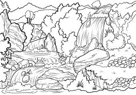 Landscape coloring page from forest category. Printable Waterfalls Landscape Coloring Page For Both Aldults And Kids