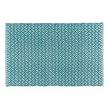 diamond teal 24 in x 36 in woven kitchen mat