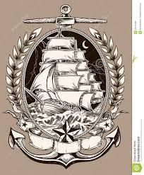 пиратский корабль стиля татуировки в гребне иллюстрация вектора