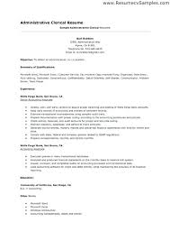 Administrative Resume Templates Fascinating Cover Letter For Clerical Job Administrative Samples Pertaining To