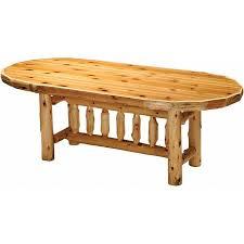 cedar log standard finish oval dining table 5 foot