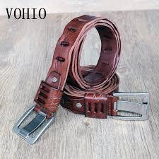 vohio high quality100 men leather belt brown wide buckles lengthened belt 150cm leather plaid brand factory direct s batman utility belt womens belts