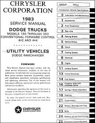 1983 dodge pickup truck & ramcharger repair shop manual original Dodge Ram W350 Wiring Diagram table of contents 1996 Dodge Ram Wiring Diagram