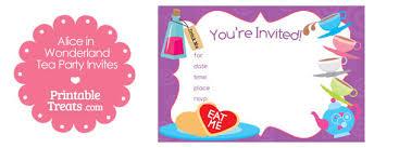 Tea Invitations Printable Printable Alice In Wonderland Tea Party Invitations Printable