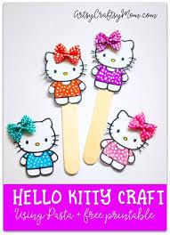 Super Cute Hello Kitty Craft Bookmark Using Pasta Free Printable
