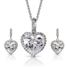 com bridal evening wear white 14k silver tone swarovski element crystals pave heart necklace earrings set jewelry