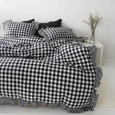 gingham frilled duvet cover cotton bedding ruffle bedding queen king cal king twin full ruffled duvet cover black white bedding