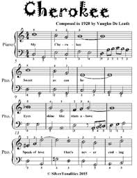 cherokee sheet music cherokee easiest piano sheet music for beginner pianists by silver