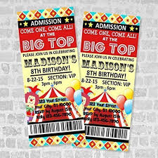 Carnival Birthday Invitations Amazon Com Circus Ticket Invitations Circus Carnival