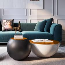 modern style round drum coffee table