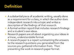 a substantial piece of academic writing usually done as a a substantial piece of academic writing usually done as a requirement for a class