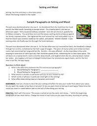 Setting And Mood Sample Paragraphs On Setting And Mood