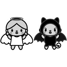 かわいい天使と悪魔の無料イラスト商用フリー オイデ43