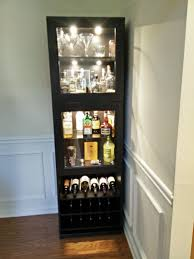 Living Room Cabinets With Glass Doors Tall Black Corner Liquor Cabinet With Glass Doors And Bottle Rack