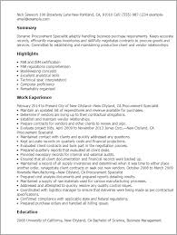 Procurement Resume Sample 1 Procurement Specialist Resume Templates Try Them Now