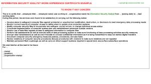 Him Chart Analyst Job Description Information Security Analyst Job Experience Letter Example