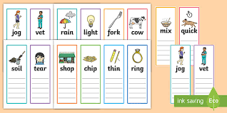 One syllable words with a grade/level: Phase 3 Phonics Rhyming String Cards Teacher Made