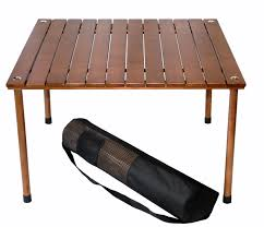 a wood portable table to go
