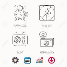 Radio Retro Camera And Alarm Clock Icons Hard Disk Linear Sign