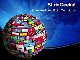 World Flags Globe Earth Powerpoint Background And Template