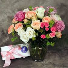 orted color roses with box of premium chocolate large
