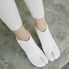 New <b>Women's Split Toe Leather</b> Ankle Boots Block High Heel Zipper ...