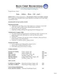 Medical Receptionist Resume Resume Examples Objective Receptionist Skills And For 100 Appealing 66