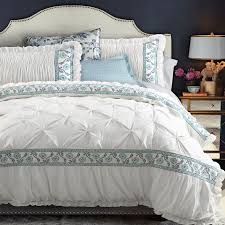 greek blue white pinch pleat puckering ruffle duvet cover set