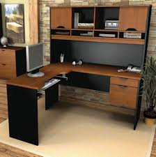 home office desk hutch. Perfect L Shaped Desk With Hutch Home Office To Apply : Captivating Light Brown Colored N