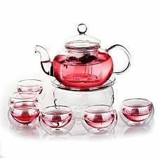 green yiko heat resistant elegant glass tea pot set infuser teapot warmer 6 doub